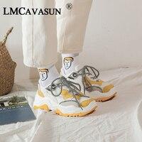LMCAVASUN Women's Platform Sneakers Leather Mesh Women Chunky Sneaker Fashion Thick Sole Woman Dad Shoes Ladies Flat Footwear