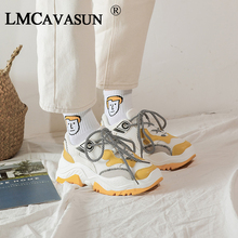 LMCAVASUN Women's Platform Sneakers Leather Mesh Women Chunky Sneaker Fashion Thick Sole Woman Dad Shoes Ladies Flat Footwear