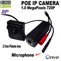 720 P mini câmera ip poe mini Microfone onvif p2p mini ip pinhole câmera de vigilância POE Com externo POE Power Over Ethernet