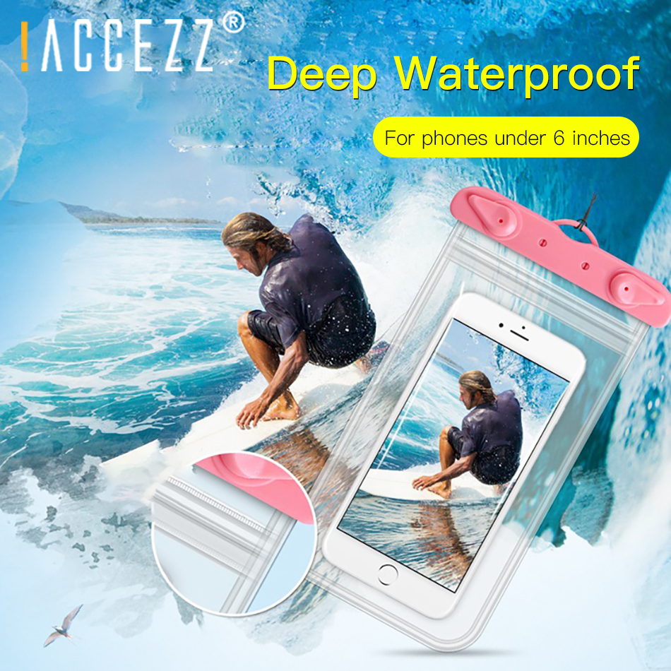 !ACCEZZ PVC 6 inches Waterproof Bag Mobile Phone Pouch For iPhone X Xiaomi Huawei Samsung HTC Swimming Outdoor Diving Cover Case