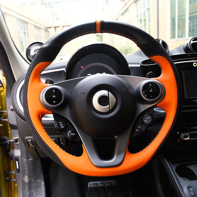 Diámetro interior del automóvil 38 CM cubierta del volante de cuero genuino DIY para smart 453 para dos accesorios de diseño