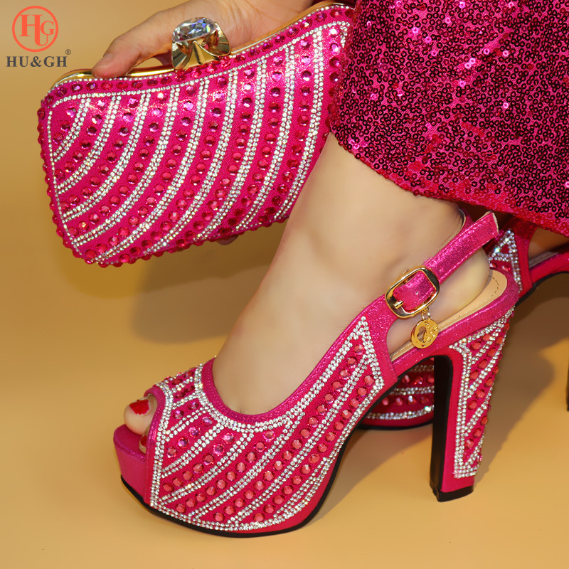New Italy Shoe And Bag African shoe and bag set high heels Italian shoe with matching bag rose pink ladies matching shoe and bag