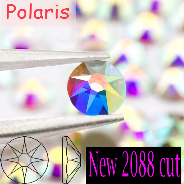The Best Quality New 2088 Cut Non hotfix 16 facets Crystal AB Nail Art  Rhinestones Golden Base for Luxury Decors Glue on 4e863137b877