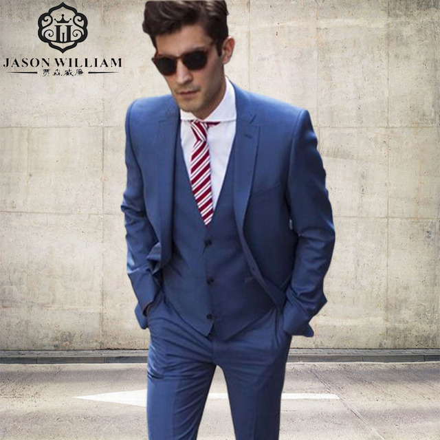 Vaak LN101 Blauw Blazer Slim Fit Mannen Pakken Custom Made Wedding @GK05