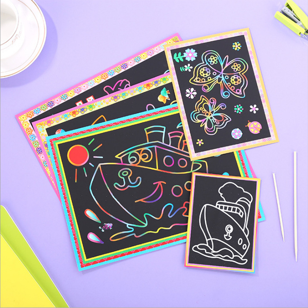 10/15/20Pcs Two-in-one Magic Color Scratch Art Paper Coloring Cards Scraping Drawing Toys Children Painting Doodle Scratch Toy ...