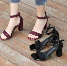 sunny everest 2019 new Girls shoes women sandals female high heel summer cool belt wine red  black students 34-40