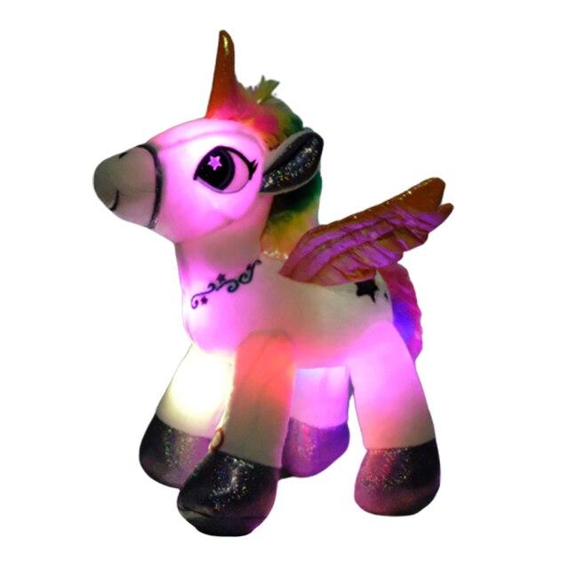 Dropshipping 36 centímetros Criativo LED Rainbow Unicorn Stuffed Plush Toys Boneca de Incandescência Bonito Unicórnio Animal de Brinquedo Do Bebê Crianças Presente de Aniversário
