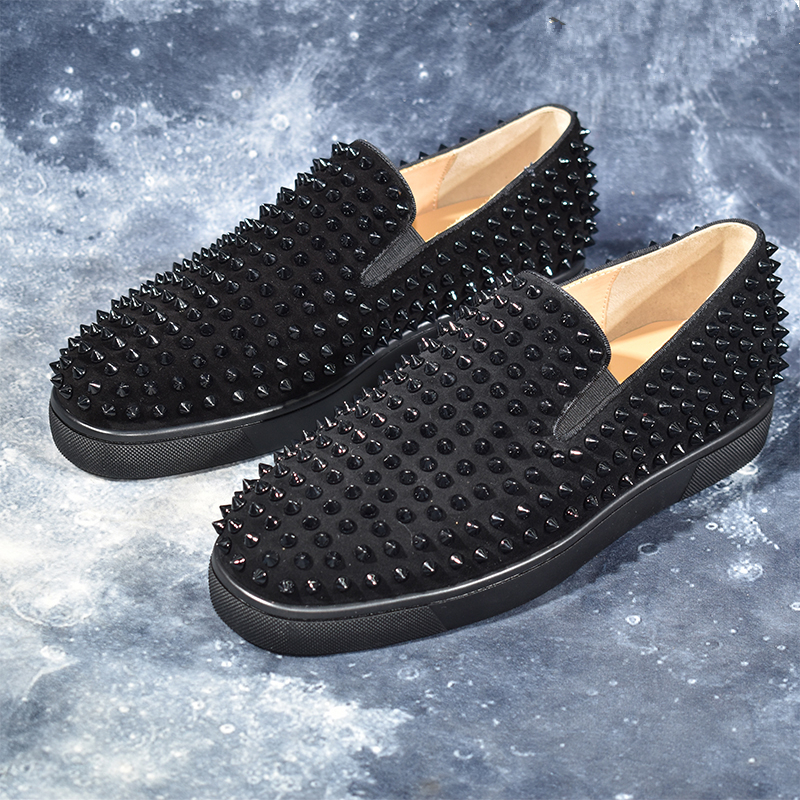 Mode hommes chaussures noir daim luxe Rivets bout rond sans lacet appartements Style chaussures populaires hommes baskets appartements zapatos de mujer