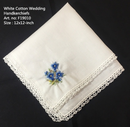 Set Of 12 Wedding Bridal Handkerchiefs White Cotton Hankies With Lace Edged & Color Embroidered Floral Hanky Bride Gifts 12