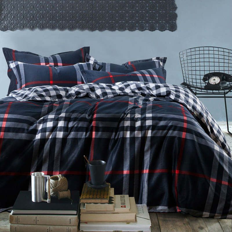 mens Plaid stripe reactive print 4pc bedding set navy 100  Cotton  bedclothes king queen size. Online Get Cheap Mens Bedding Set  Aliexpress com   Alibaba Group