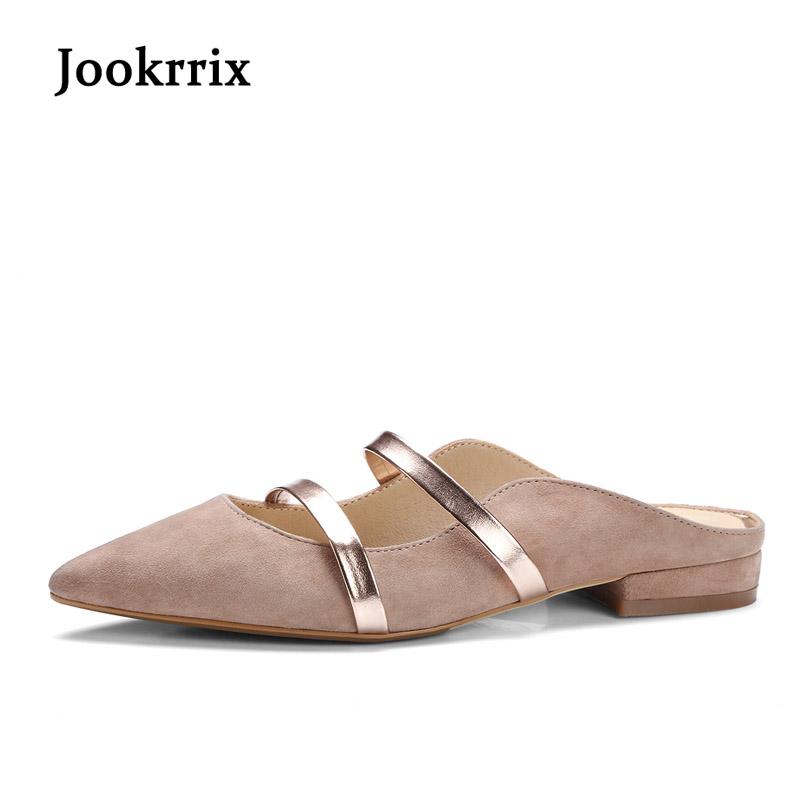 Jookrrix 2018 Summer Girl Fashion Brand Pointed Toe Flats Girl Shoes Women Real Leather Mules Thin belt Lady Chic Shallow Soft new 2017 spring summer women shoes pointed toe high quality brand fashion womens flats ladies plus size 41 sweet flock t179