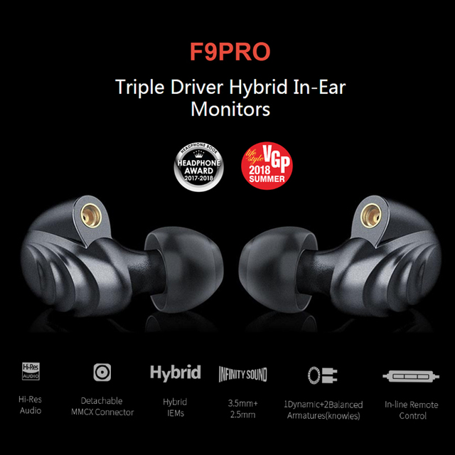 FiiO F9 Pro Triple Pilote Hybride In-Ear Monitors earphone 1 synamic and 2 balanced armature drivers 2