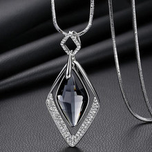 Women Korea High Quality Rhombus Crystal Pendant Necklaces Geometric Statement Long Necklace Rhinestone Bijoux Jewelry Gift 2019(China)