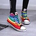2017 mujeres de la marca zapatos de lona del arco iris colores mezclados planos zapatos casuales estudiantes coloridos zapatos de tela de alta tops 35-39