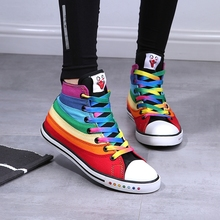 2017 women canvas shoes brand rainbow flat mixed colors shoes casual shoes colorful students cloth shoes high tops 35-39
