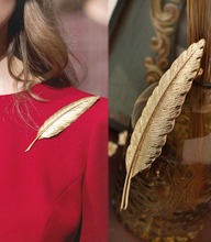 Vintage gold leaf brooches New design Europe style long brooch women lady unique jewelry