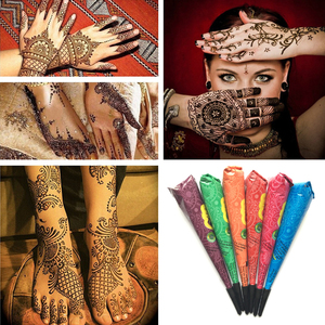 1PC Indian Henna Tattoo Paste Cone Body Paint Black Brown Red White Henna Cones For Temporary Tattoo Body Art Waterproof TSLM1(China)