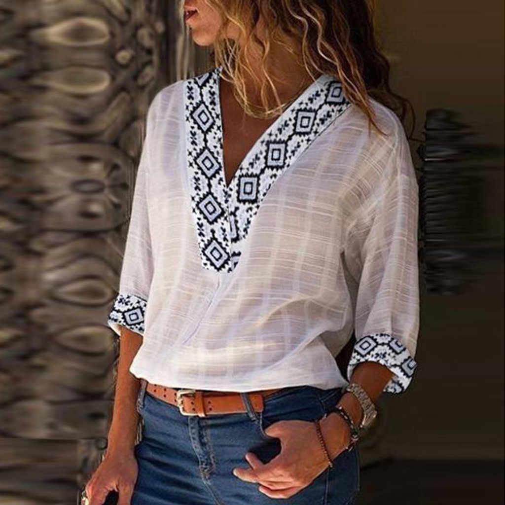 SAGACE ファッション女性のブラウス V ネックプリント 3 分袖シャツコットンリネンシャツカジュアルブラウストップストップ