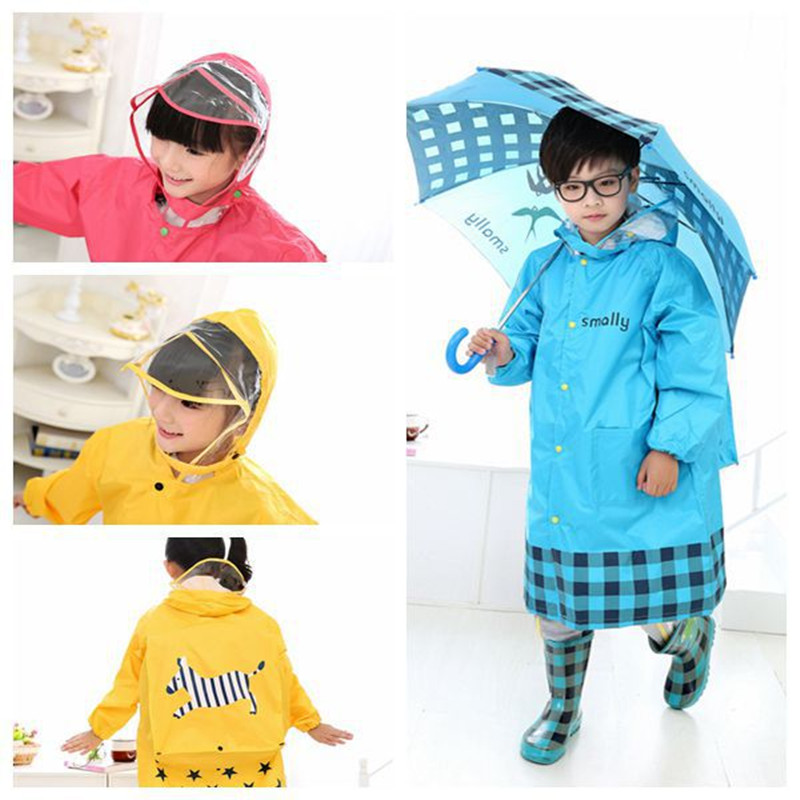 New Upgraded Fashion Kids Rain Coat Transparent Large Brim Three Colors Children with Schoolbag Bit Raincoat