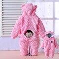 Macacão de bebê moda inverno espessamento flanela de algodão do bebê inverno snowsuit menina grossas de inverno top quality