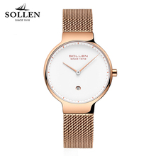 Relogios Femininos SOLLEN Ultrathin Watch Women Calendar Mesh Steel Strap Wristwatch Simple Ladies Quartz Watches reloj mujer