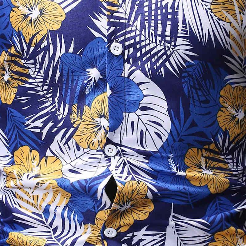 2019 брендовая мужская летняя гавайская рубашка с длинным рукавом размера плюс, рубашки с цветочным принтом, мужская повседневная одежда для отдыха