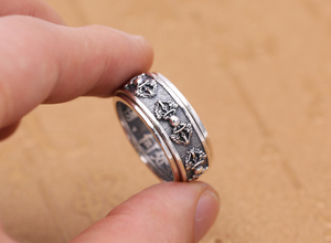 Image 4 - Handmade 925 Silver Tibetan Dorje Ring Vintage Thai Silver Buddhist Vajra Symbol Ring Sterling Spinning Ring GOOD LUCK