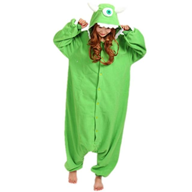 d1c4ad769f16 Monster one eye Mike Wazowski Cosplay Costume hooded Onesie Party Costume Mike  pajama Cartoon Monster Mike pajamas Sleepwear