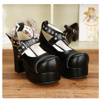 Princess sweet lolita shoes Anime LOLITA high heels neutral COS punk dual band Queen stiletto shoes Shallow mouth coarse pu9893