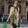 Women Silk dress Mini dress 100%Real Silk Print Chiffon dress 3/4 sleeve Fasion summer dress New