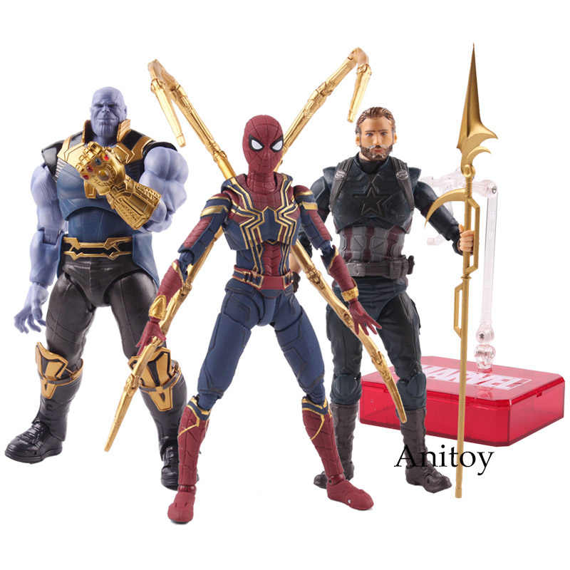 SHF Marvel Avengers 3 Infinity Guerra Thanos Captain America Dottor Strange Spiderman Action Figure PVC Collezione Toy Model