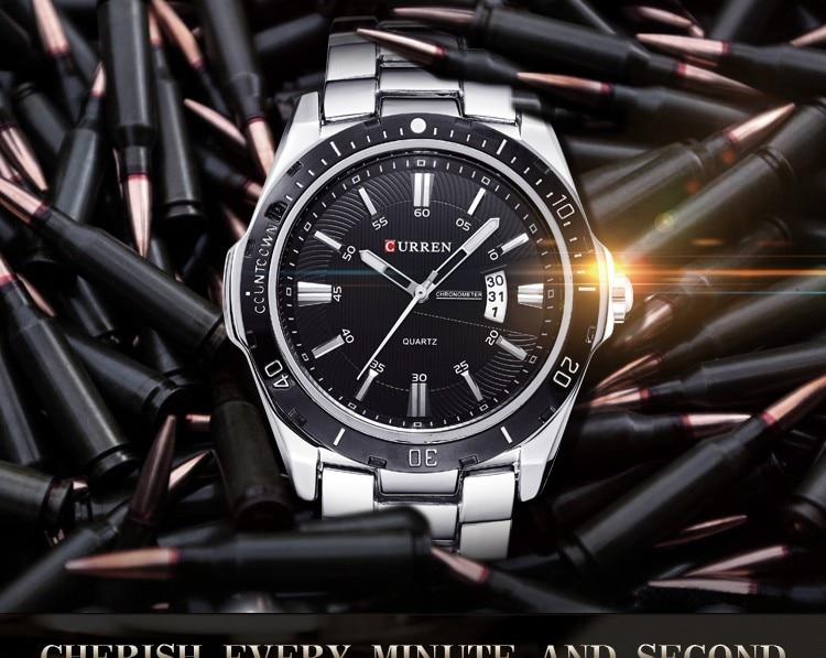 Mens Watches Top Luxury Brand CURREN 18 Men Full Steel Watches Quartz Watch Analog Waterproof Sports Army Military WristWatch 3