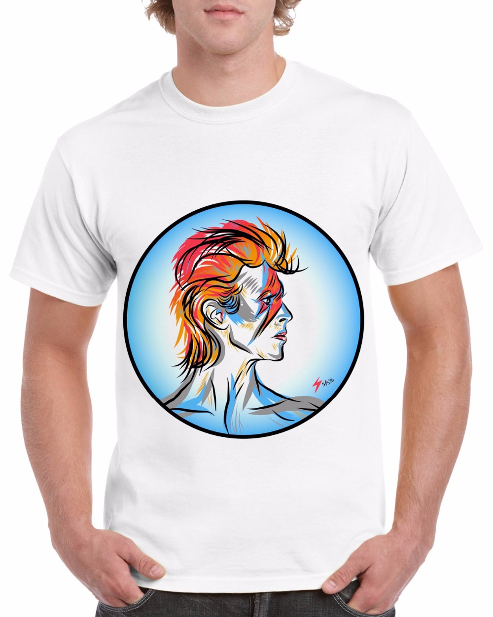 2018 Fashion David Bowie T Shirt for Men Anniversary Merchandise Shirt Short Sleeve Rock ...