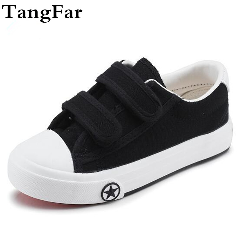 Breathable Boy Girl Canvas Shoes Black White Anti-slip Kids Sneaker Causal Leisure Sport Shoes For Children Footwear