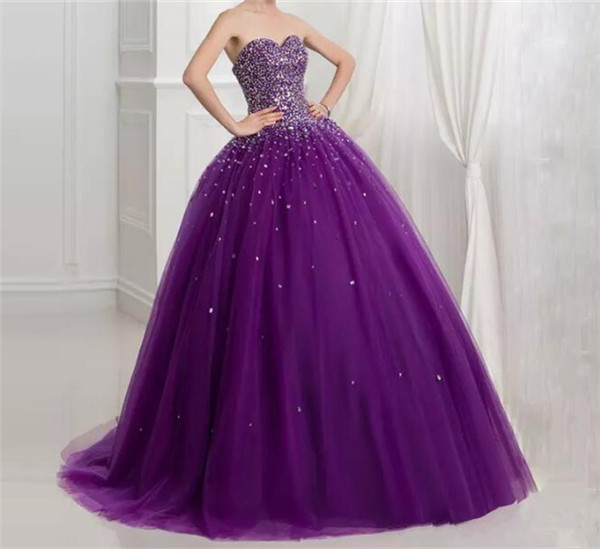 Luxury Purple Girls Dresses Ball Gown Crystal Floor Length Sweetheart Lace Up Sweet Girls Pageant Party Dress Size 2-16 sweetheart neck pin up dress