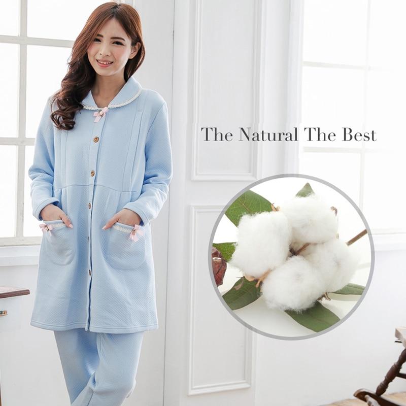 MamaLove Winter Thermal Maternity Nightgown Maternity Pajamas Sweatshirt Nursing Sleepwear Pajamas for Pregnant Women