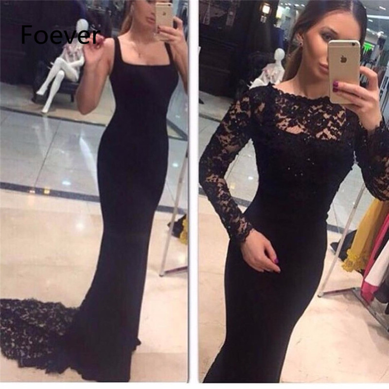 Vestido Do Festa Sexy Two Pieces   Evening     Dresses   Scoop Neck Lace Appliques Beaded Long Sleeve Black Mermaid Prom Gown