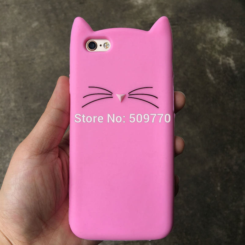 3d lindo de la historieta pink cat case cubierta para iphone5 6 6 s 4.7 pulgadas