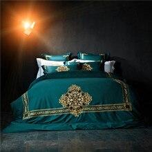 Svetanya зеленый Вышитые Роскошные Постельные Принадлежности Устанавливает Королева Король Размер Постельное Белье 100% Египетского Хлопка Постельное белье