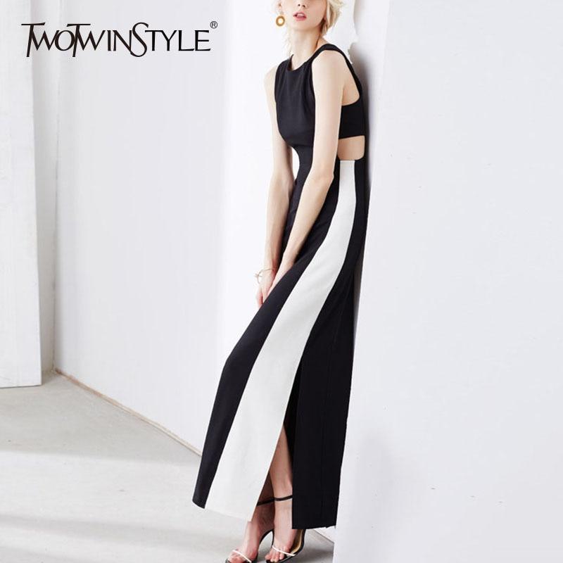 Deuxtwinstyle Patchwork longue robe femme sans manches trou taille haute Split Slim X longues robes 2019 printemps été vêtements élégants-in Robes from Mode Femme et Accessoires    1
