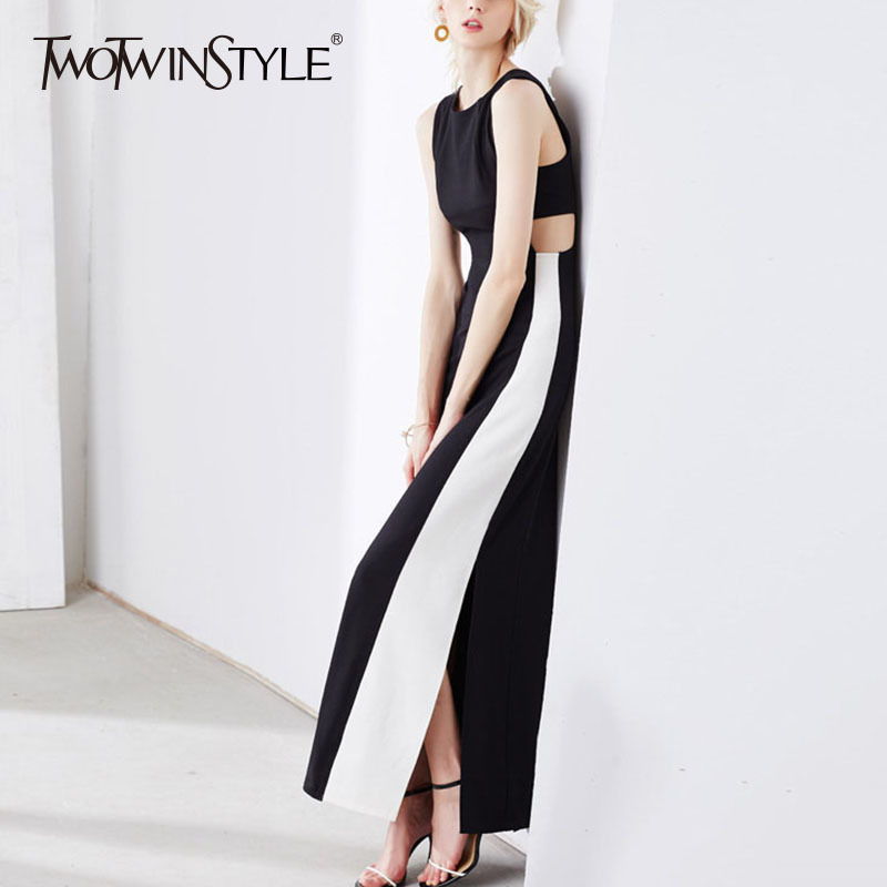 TWOTWINSTYLE Patchwork Long Dress Female Sleeveless Hole High Waist Split Slim X Long Dresses 2019 Spring Summer Elegant Clothes