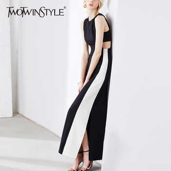 TWOTWINSTYLE Patchwork Long Dress Female Sleeveless Hole High Waist Split Slim X Long Dresses 2019 Spring Summer Elegant Clothes - DISCOUNT ITEM  39% OFF All Category