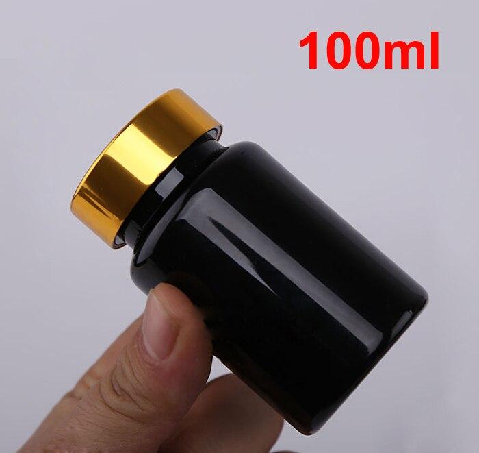 20 шт 100 мл ПЭТ толстые черные бутылки для таблеток Металлическая черная крышка, крышки sules бутылки, фармацевтическая пластиковая бутылка - Цвет: Bright Golden Cap
