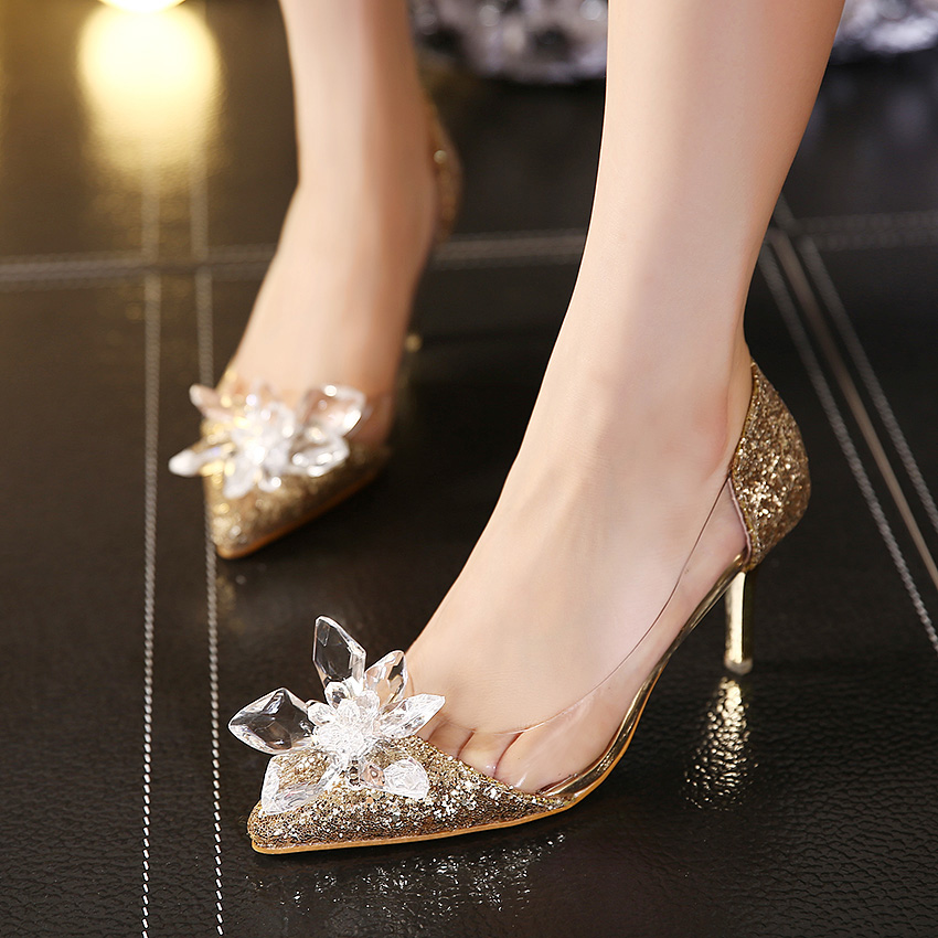 7ca3a521b22d9 Plus Size Cinderella Shoes Low Heels Ladies Pumps Women Wedding Party Shoes  Thin Heel Rhinestone Butterfly Crystal Dress Shoes-in Women s Pumps from  Shoes ...