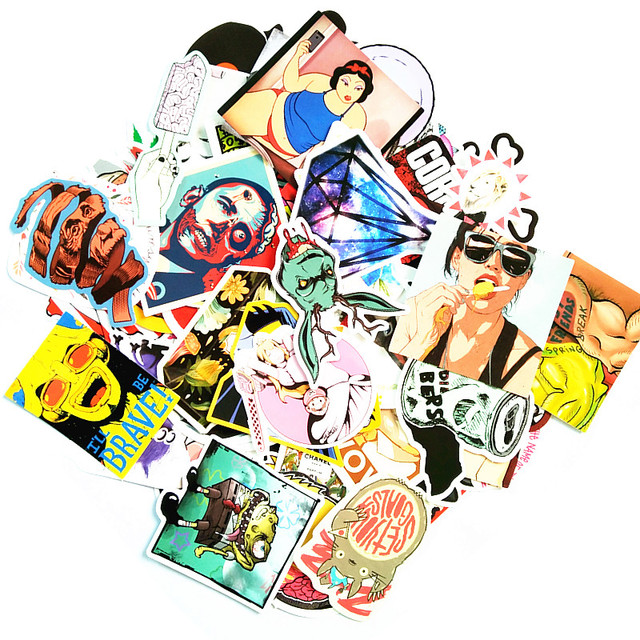 100 pcs mixed funny fun stickers for kids home decor laptop sticker decal fridge skateboard doodle
