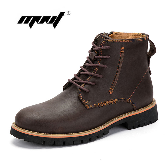 Natürliche Kuh Leder Männer Stiefel Handgemachte Retro Männer Schuhe Wasserdicht Spitzen Bis Stiefeletten Outdoor Qualität Herbst Schuhe Männer