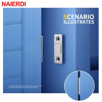 NAIERDI 2 sztuk zestaw drzwi magnetyczne zatrzymuje ukryte drzwi bliżej magnetyczne zatrzaski do szafek ze śrubą do szafy element wyposażenia kredensu sprzętu tanie i dobre opinie Obróbka metali DS-08 Łapie drzwi i drzwi bliżej 2pcs(one set) Included Metal + Magnet 41 5mm*16 5mm 37 5mm*15mm Wardrobe Drawers Cabinets Dressers Cupboard Door etc