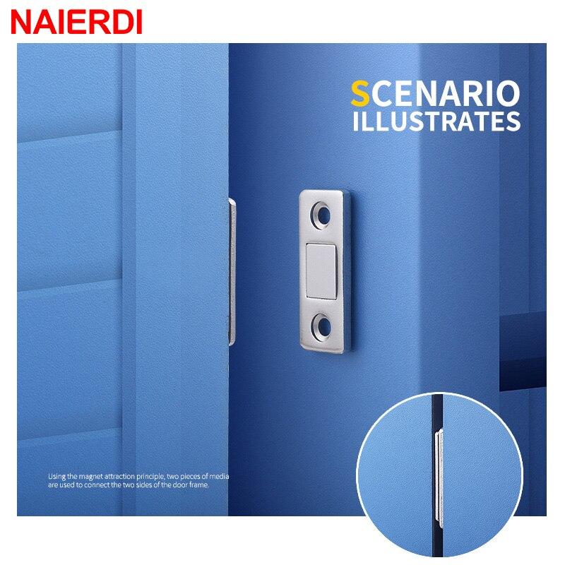 NAIERDI 2pcs/Set Magnet Door Stops Hidden Door Closer Magnetic Cabinet Catches With Screw For Closet Cupboard Furniture Hardware
