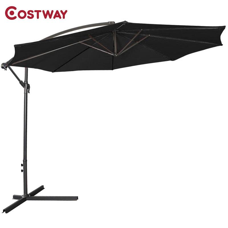 COSTWAY Large Folding Garden Patio Umbrella Offset Hanging Umbrella Outdoor Market Umbrella OP2331 large double layers folding umbrella windproof rain gear