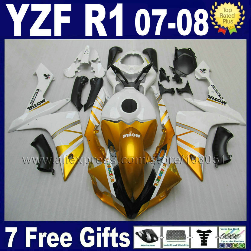 7gifts OEM Injection molding for YAMAHA R1 fairing kit YZF R1 07 08 1000 2007 2008 white bodywork repair fairings kits motorcycle fairings fit for yamaha yzf r1 yzf 1000 yzf r1000 yzf1000 2007 2008 07 08 abs injection fairing bodywork kit a0802